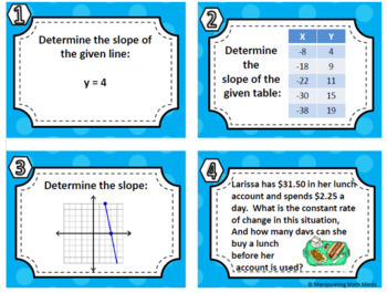 Slope Task Card Set - Great unit or STAAR Review