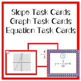 Slope Task Cards, Line Graph Task Cards, and Equation Task Cards