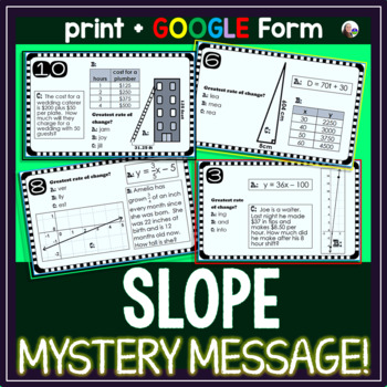 Slope Task Cards with a MYSTERY MESSAGE!