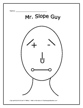 Slope Types of Linear Equations: Personalize Mr./Ms. Slope Guy or Girl Glyph