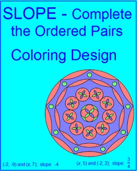 Slope - Use Slope to Complete the Ordered Pair Coloring Activity color choices