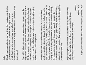 Slope Worksheet