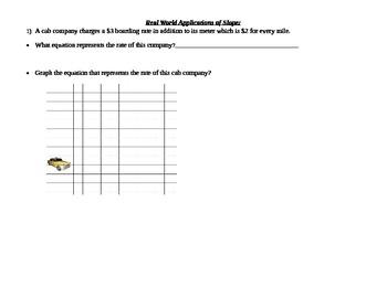 Slope- Writing Equations- Real World Slope
