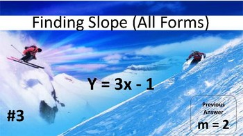 Slope all forms (table, graph, equation, 2 points) Scavenger Hunt