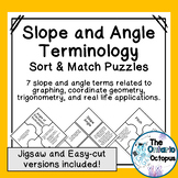 Slope and Angle Vocabulary Matching Puzzles