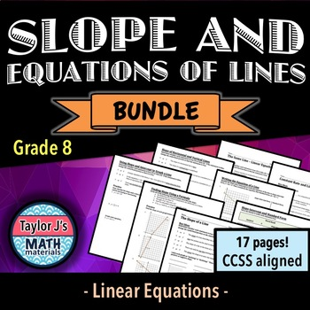 Slope and Equations of Lines Bundle