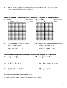 Slope and Graphing Linear Functions Test