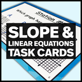 8.EE.B.6 Slope and Linear Equations Task Cards - Middle School Math Stations