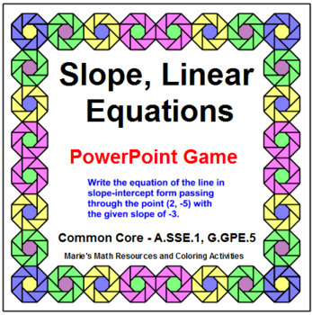 Slope and Linear Equations - WIPE OUT! Game or Review