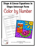 Slope and Linear Equations in Slope-Intercept Form Color by Number Activity