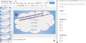Slope and Lines Digital Task Cards - Google Slides and Forms - No Grading