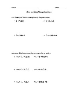 Slope and Rate of Change Practice