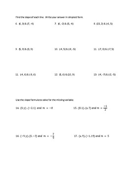 Slope and Rate of Change Worksheet
