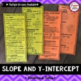Slope and Y-Intercept Bookmark Notes