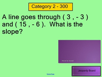 Slope and Y-Intercept Jeopardy