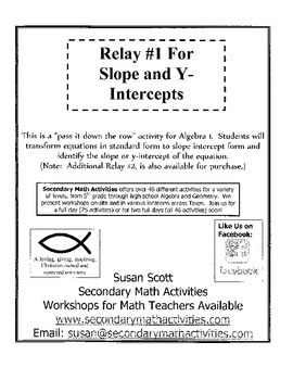 Slope and Y-Intercept RELAY #1 - Algebra 1