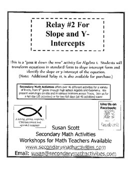 Slope and Y-Intercept RELAY #2 - Algebra