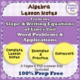 Slope and Y-Intercept Word Problems & Applications Notes H
