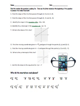Slope and y-Intercept Riddle Worksheet