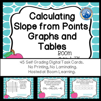 Slope from Graphs, Points and Tables  Boom Cards--Digital Task Cards
