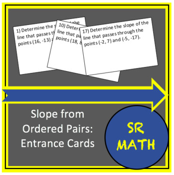 Slope from Ordered Pairs: Entrance Cards