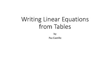 Finding Slope from Tables - Writing Linear Equations