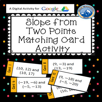 Slope from Two Points Matching Card Activity --Google Activity