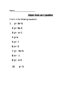 Slope from an Equation