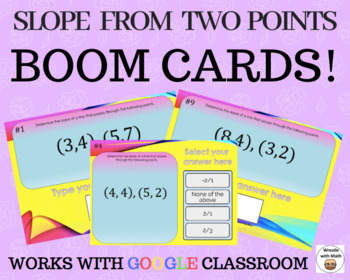 Slope from two points  – Boom Cards – Works with GOOGLE CLASSROOM