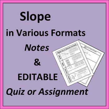 Slope in Various Formats Notes and EDITABLE Quiz