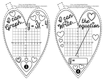 Valentine's Day Hearts Math Pennant for Linear Equations