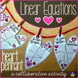 Valentine's Day Algebra Linear Equations Hearts Pennant Activity