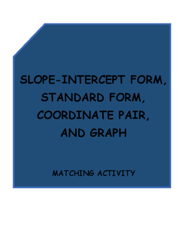 Slope-intercept, Standard, Coordinate pair and Graph Matching Activity