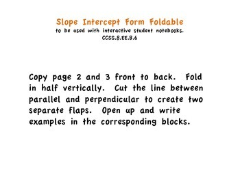 Slope intercept form foldable.