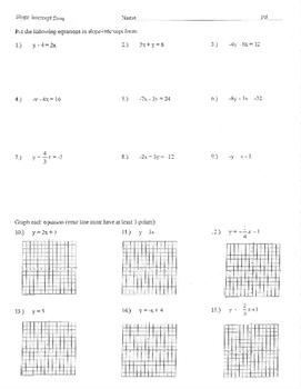 Slope intercept form quiz worksheet assignment y=mx+b mx+b
