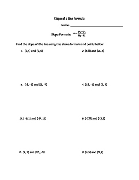 Slope of a Line Equation Practice