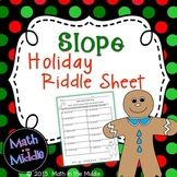 Slope of a Line Holiday Riddle Sheet