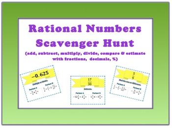 Rational Numbers Scavenger Hunt 7NS1-3
