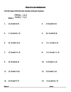Slope of a Line Notes and Assignments