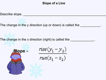 Slope of a Line Notes and Assignments on Smartboard