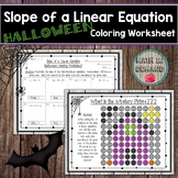 Slope of a Linear Equation Halloween Coloring Worksheet
