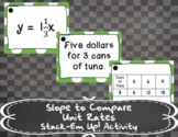 Slope to Compare Unit Rates - Stack-Em Up! Activity