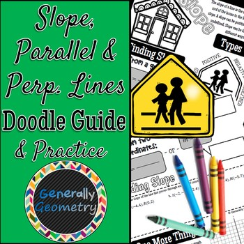 Slope with Parallel & Perpendicular Lines Doodle Guide & Practice Worksheet