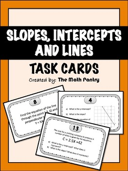 Slopes, Intercepts, and Lines Task Cards