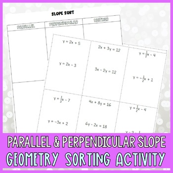 Slopes of Parallel & Perpendicular Lines Card Sort