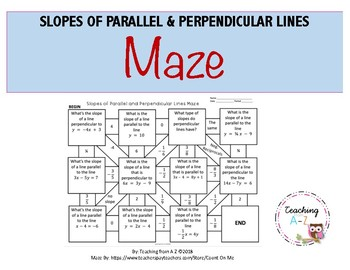 Slopes of Parallel & Perpendicular Lines Maze FREEBIE