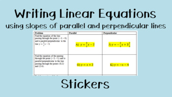 Slopes of Parallel & Perpendicular Lines (Writing Equations) Stickers