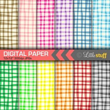 Sloppy Gingham Digital Papers,  Digital Backgrounds