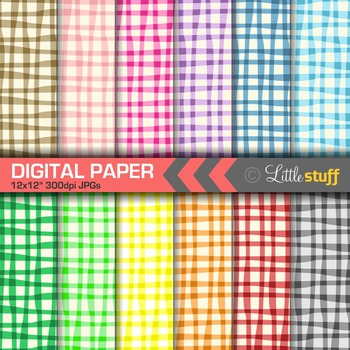 Sloppy Gingham Digital Papers,  Digital Backgrounds