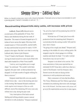 Sloppy Story Editing Quiz
